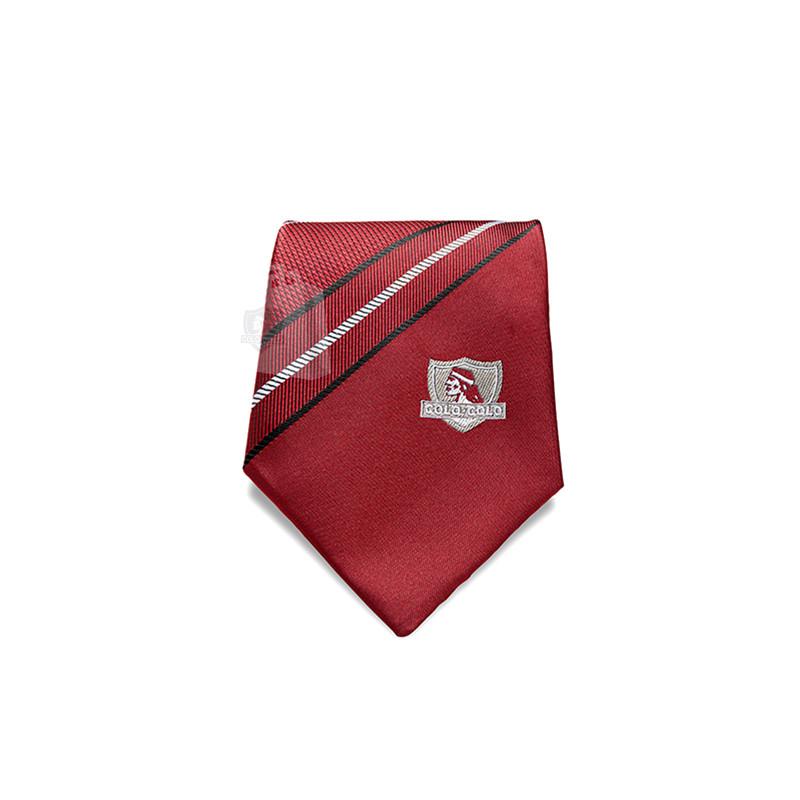 Corbata Colo-Colo Burdeo Rayas 8cm