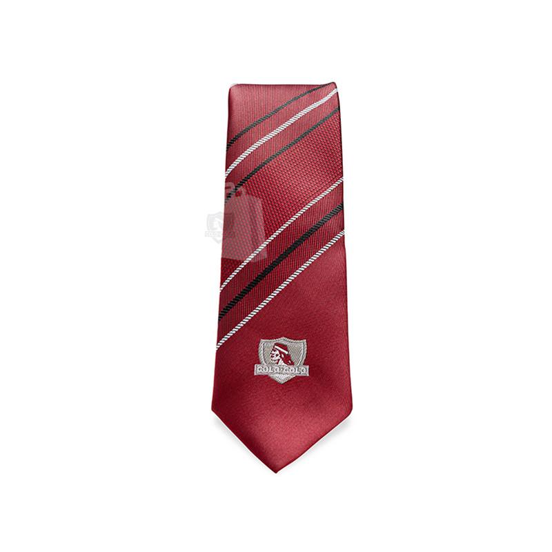 Corbata Colo-Colo Burdeo Rayas 6cm
